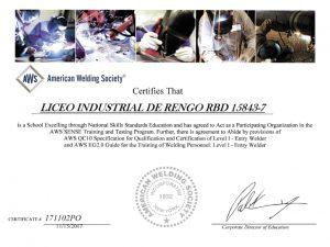 LICEO INDUSTRIAL DE RENGO ÚNICO LICEO PUBLICO DE EMTP EN CERTIFICAR COMO INSTITUCIÓN EDUCATIVA DEL RUBRO DE LA SOLDADURA BAJO LAS NORMAS DE LA ASOCIACIÓN AMERICANA DE SOLDADURA AWS