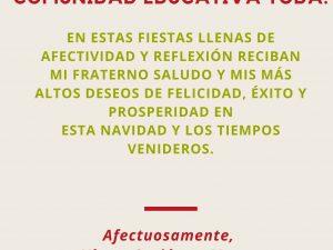 QUERIDOS ALUMNOS Y COMUNIDAD EDUCATIVA.